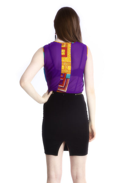 Shop Fe-Ijeoma Crop-top (Blue/Purple) by Ajepomaa Design Gallery at Kuwala