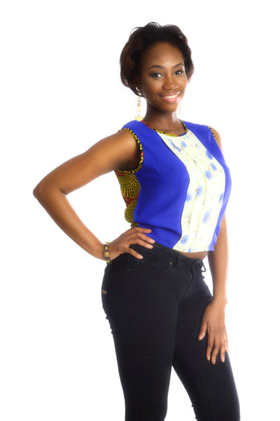 Shop at Kuwala for the La-Ijeoma Crop-top (Blue) by Ajepomaa Design Gallery - 2