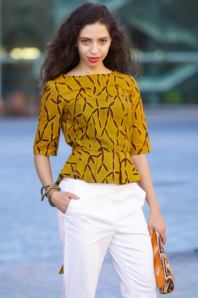 Shop Kuwala.co for the Peacock Peplum Top (mustard) by Gitas Portal