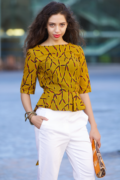 Shop Kuwala for the Peacock Peplum Top (mustard) by Gitas Portal