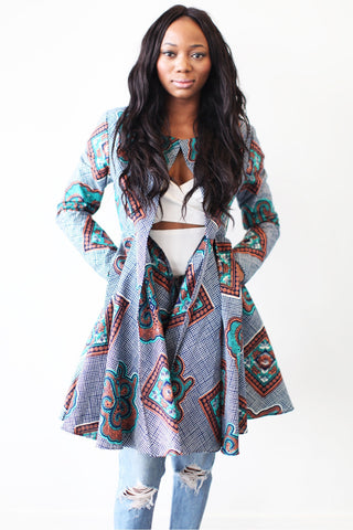 Nairobi Ankara Jacket (Denim Blue)