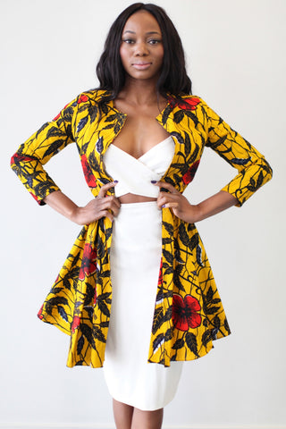 Shop Kuwala for the Nairobi Ankara Jacket (Golden Hibiscus) by Omi Woods
