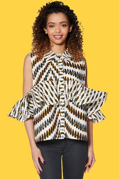 Shop Kuwala.co for the Ruffled Open Shoulder Top by KIKI Clothing