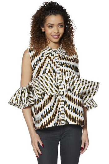 Ruffled Open Shoulder Top - Kuwala