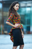Shop Kuwala for the Peacock Peplum Top (red) by Gitas Portal