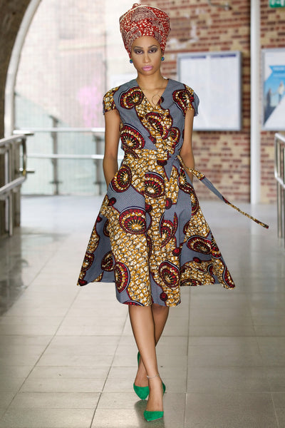 Shop at Kuwala for the Queen Ankara Wrap Dress by Gitas Portal - 3