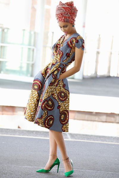 Shop at Kuwala for the Queen Ankara Wrap Dress by Gitas Portal - 4