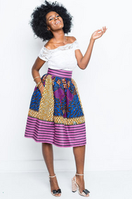Shop Kuwala.co for the Shauntay Kiki Striped Skirt by Kaela Kay