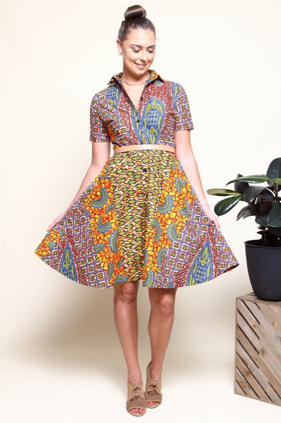 Shop Kuwala.co for the Shayla Shirtdress (Sunrise) by suakoko betty