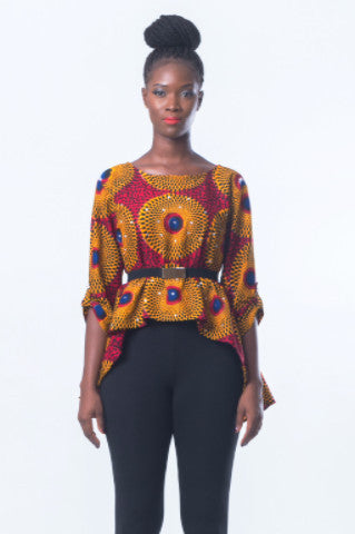 Shop Kuwala.co for the Timbila Crop-Top (Red/Yellow) by Poqua Poqu