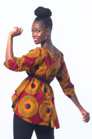 Shop at Kuwala for the Timbila Crop-Top (Red/Yellow) by Poqua Poqu - 1