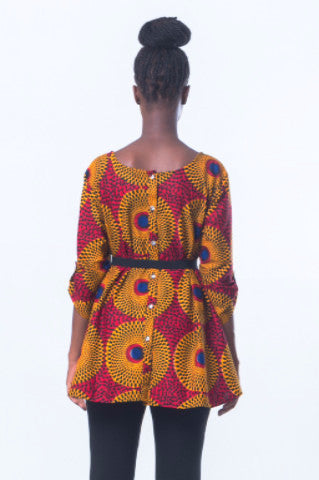 Shop at Kuwala for the Timbila Crop-Top (Red/Yellow) by Poqua Poqu - 3