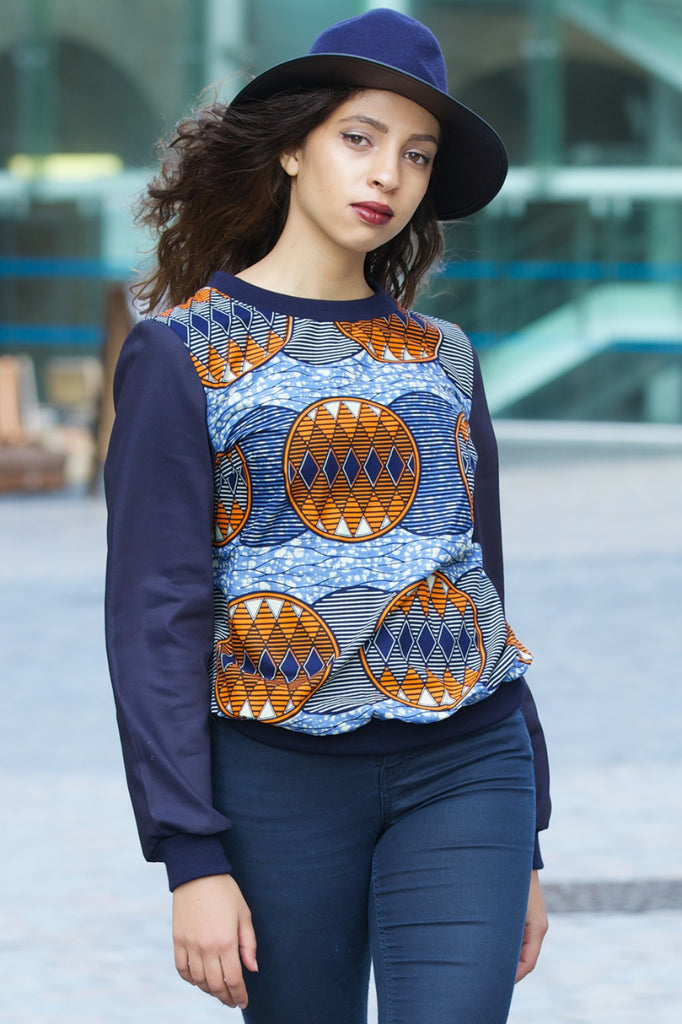 Shop Kuwala.co for the Ana Shirt (blue/orange) by Gitas Portal