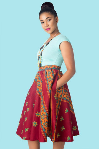 Shop Full Flare Skirt (Wine) by KIKI Clothing at Kuwala