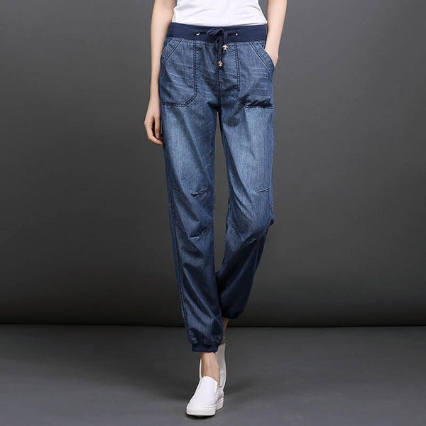 Spring and Summer Thin jean for women girls bloomers harem pant - Hivexi