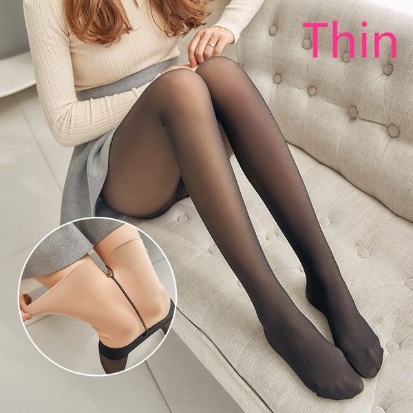 ATHVOTAR Women Sexy Warm Legging Thick Velvet Mesh High Waist Slim - Hivexi