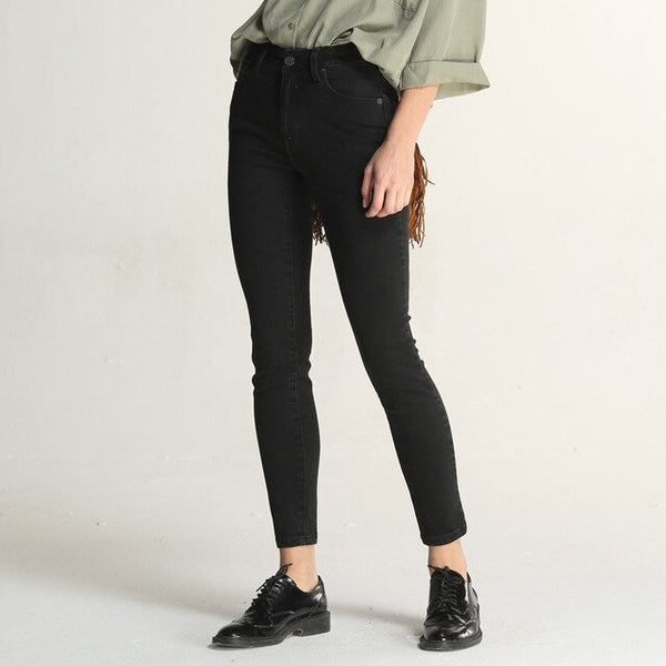 Skinny casual Solid color Denim pant Women - Hivexi