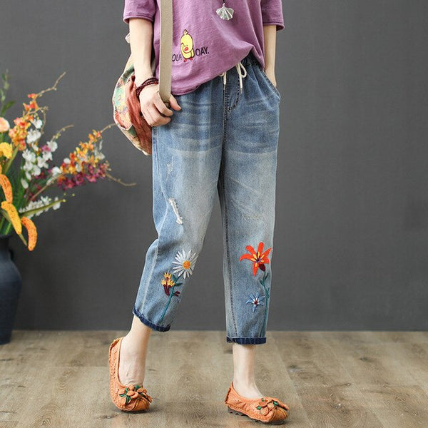 Max LuLu 2020 New Fashion Summer Ladies Elastic Jeans Women Casual Floral Embroidery Denim - Hivexi