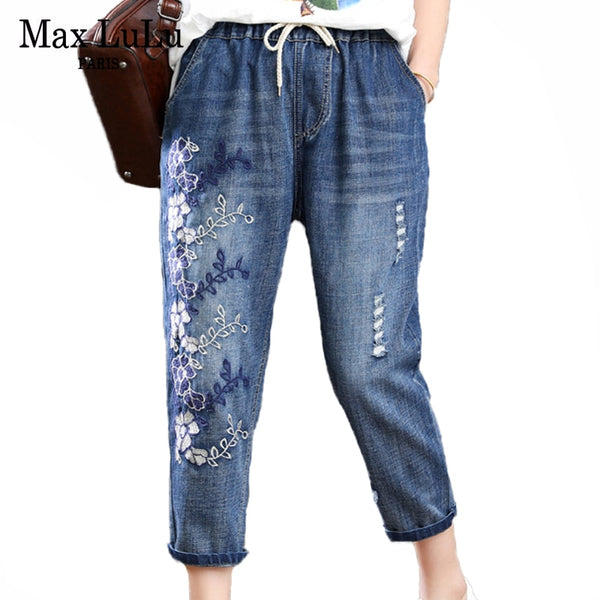Max LuLu New Summer Fashion Ladies Floral Jeans Luxury Embroidery Denim Pant - Hivexi