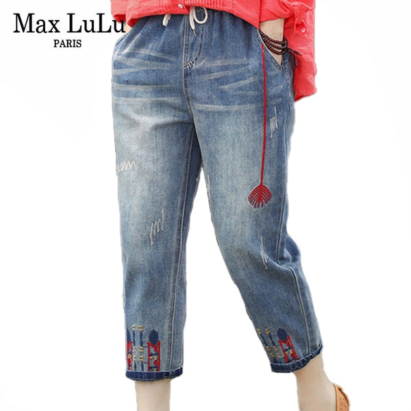 Max LuLu Fashion Ladies Ripped Loose Jeans Women Casual Embroidery Denim - Hivexi