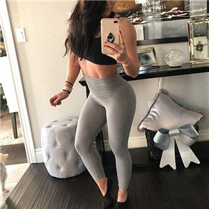 New Fashion Solid Ankle-Length Breathable Legging Casual High Waist Push Up Elastic Fitness Legging - Hivexi