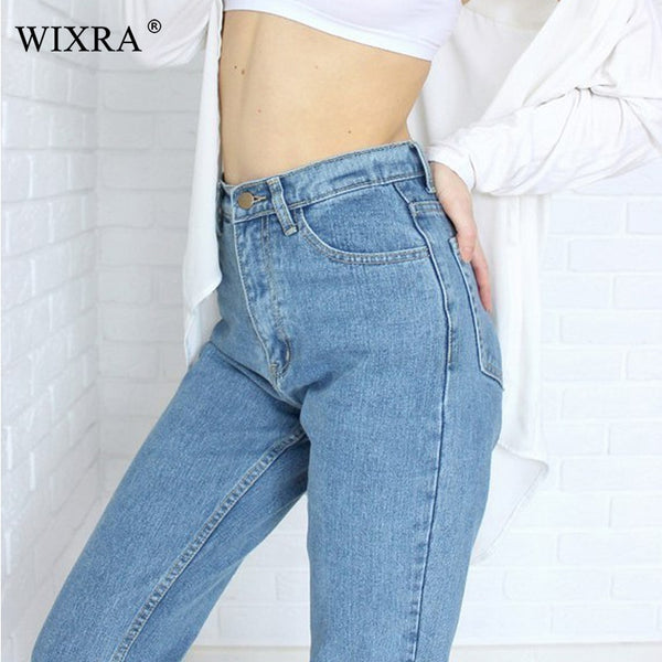 WIXRA Basic Denim Jeans Classic 4 Season Women High Waist Jeans Vintage Mom Style Pencil - Hivexi
