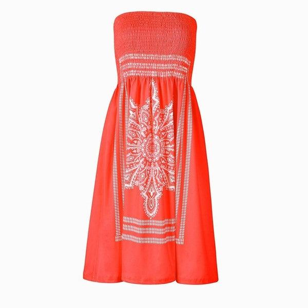 Fashion Print Strapless Sexy Sleeveless Mini Casual Dress - Hivexi