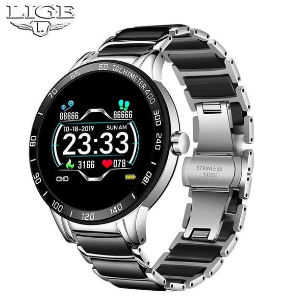 LIGE Luxury Ceramic Strap Smart Watch Men Waterproof Sports Fitness Tracker For Android - Hivexi