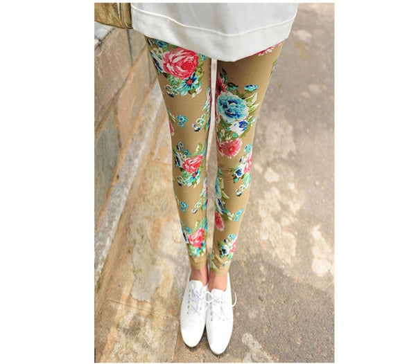 CUHAKCI Graffiti Floral Patterned Print Legging For Women - Hivexi