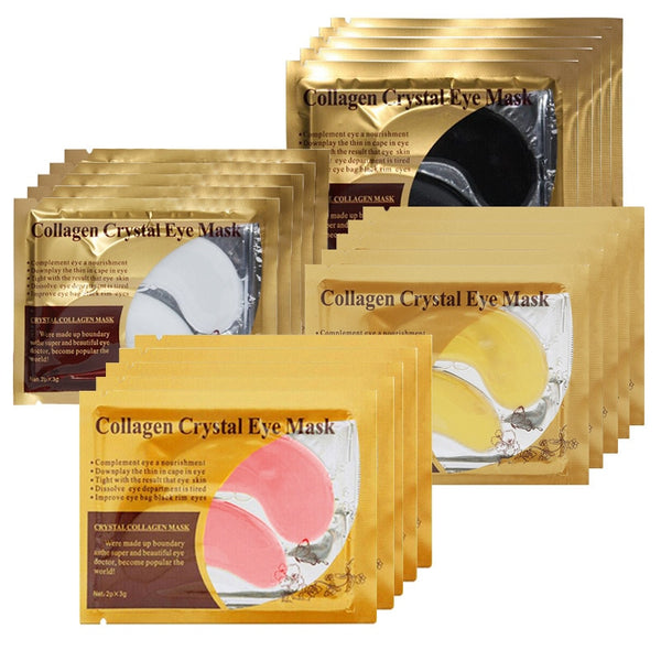 10Pcs=5Pair Gold Crystal Collagen Eye Mask Eye Patches For Eye Care - Hivexi