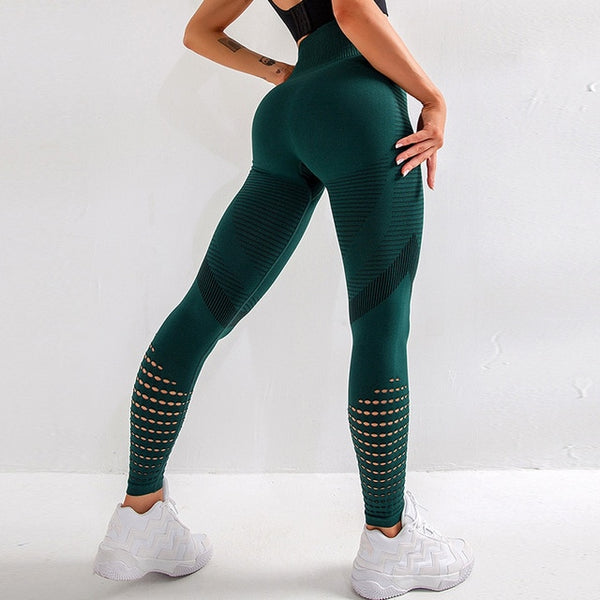 NORMOV Casual Women Leggings Fitness High Waist Push Up Patchwork Hollow Out Spandex - Hivexi