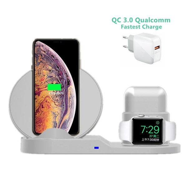 3 in 1 10W Fast Wireless Charger Dock Station Fast Charging For iPhone XR XS Max 8 for Apple Watch 3 4 5 For AirPods For Samsung - Hivexi