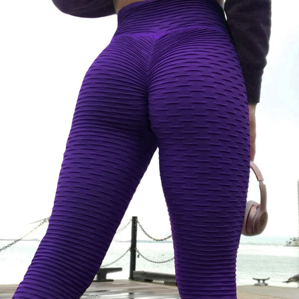 CHRLEISURE Push Up Leggings Women Fitness Pants High Waist Sports - Hivexi