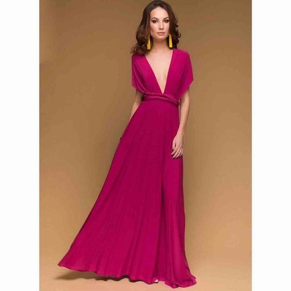 Sexy Women  Wrap Convertible Maxi Club Red Dress - Hivexi