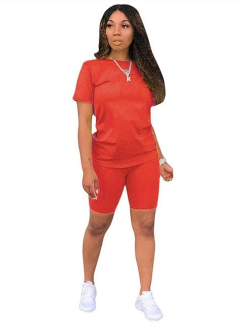 Women solid sporting casual two piece set short sleeve - Hivexi