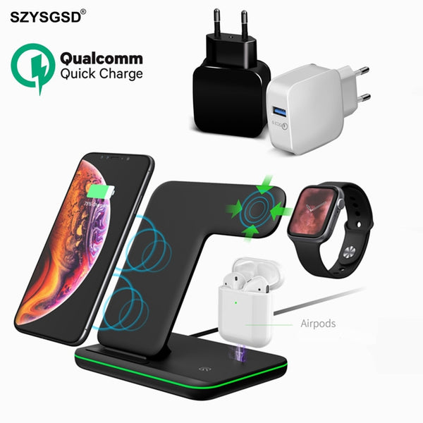 Universal 15W Qi Wireless Charger For Iphone X 8 Samsung Quick Charge 3.0 Fast Charger Dock Stand For Apple Airpods Watch 5 4 3 - Hivexi