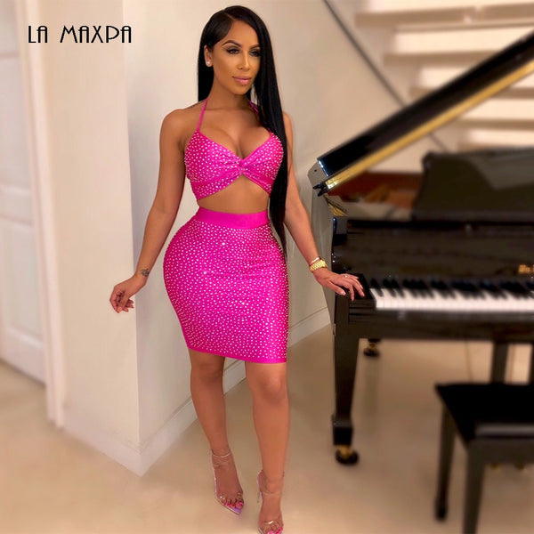 2020 New Women'S Sexy Celebrity Bandage Dress Two-Piece - Hivexi