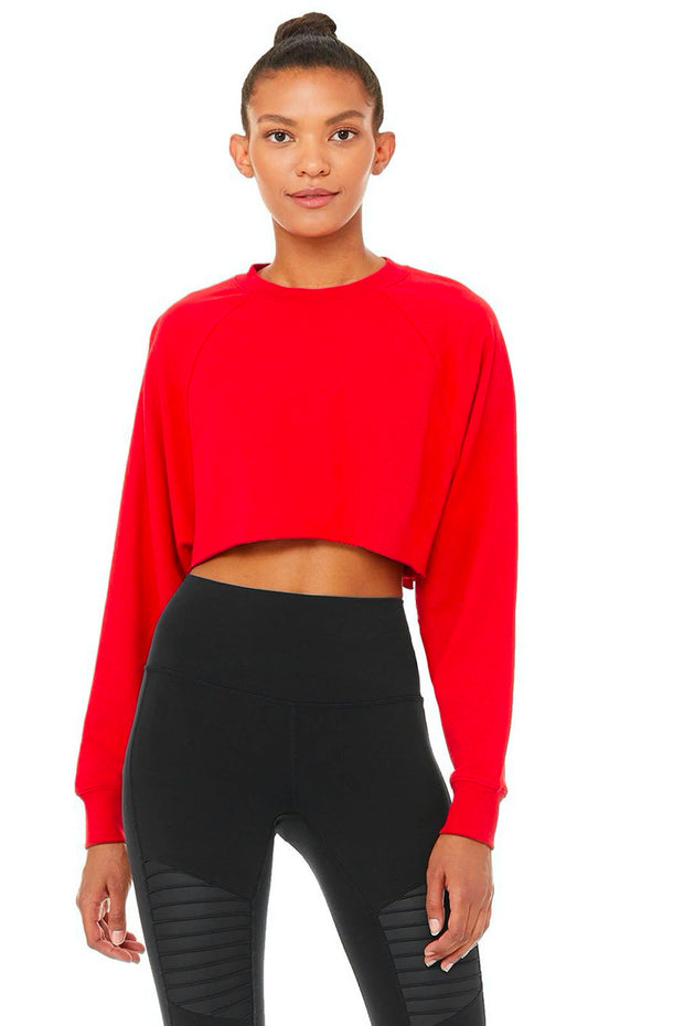 Alo Yoga Double Take Pullover Scarlet Red