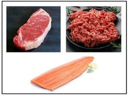GRILL MASTERS PACKAGE A WITH PRIME NY STEAK, ATLANTIC SALMON, WAGYU GROUND BEEF