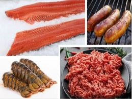 GRILL MASTERS PACKAGE C WITH OCEAN STEELHEAD,WAGYU GROUND BEEF,BRATWURST,LOBSTER TAILS