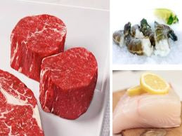 GRILL MASTERS PACKAGE B WITH PRIME FILET MIGNON, HALIBUT,SHRIMP