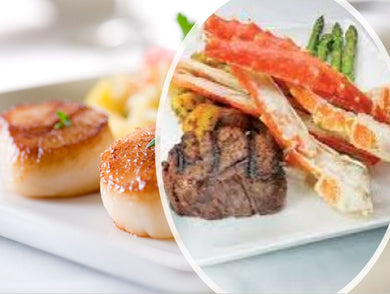 SURF & TURF SUPREME CHOICE PACKAGE SPECIAL WITH PRIME FILET MIGNON, ALASKAN KING CRAB, BOSTON SCALLOPS