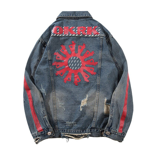 RED FLOWWER DENIM JACKET