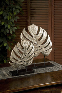 Escultura Silver Antiqued Leaves Set/2