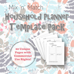 Mix 'n' Match Household Planner Template Pack