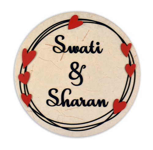 Hearts Boho Round LED Name Plate