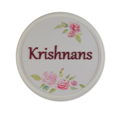 Round Roses Pristine Name Plate