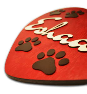 Heart Paw Buttercup Name Plate