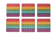 Load image into Gallery viewer, Chevron Square Coasters Set of 6