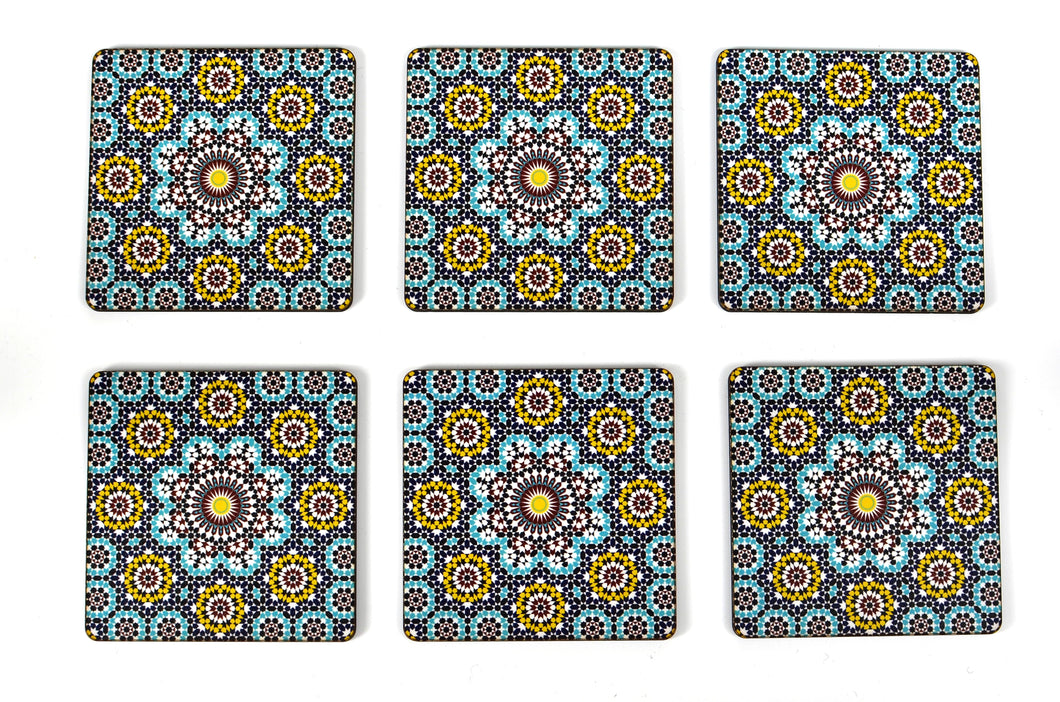 Mosaic Pattern Square Coasters Set of 6